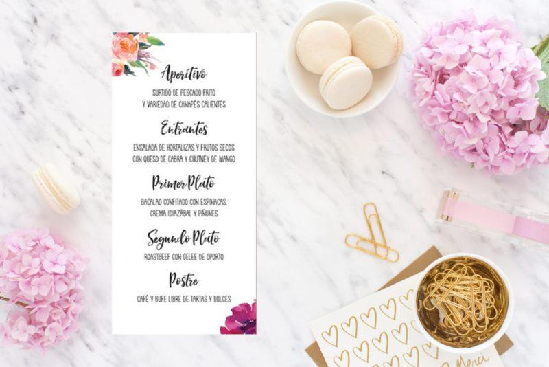 minutas imprimibles para bodas