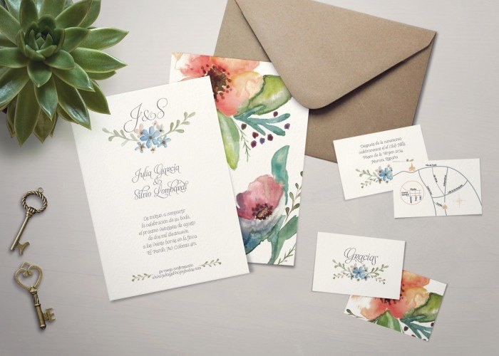 Invitaciones de boda aquarella