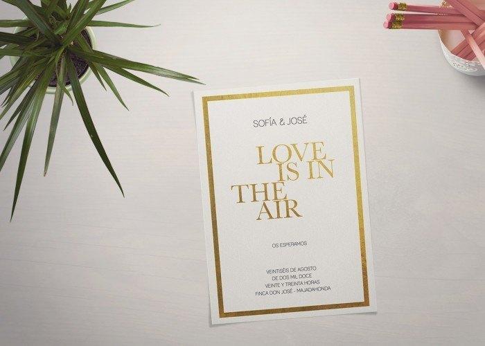 Invitaciones de boda dorado letterpress