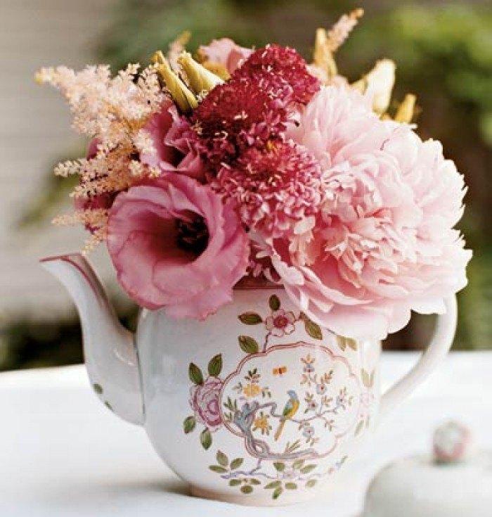 decorar tu boda con porcelana tetera vintage