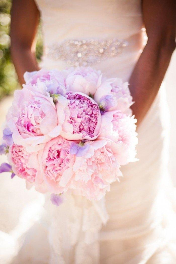 ramos de novia con Peonías rosa y lila