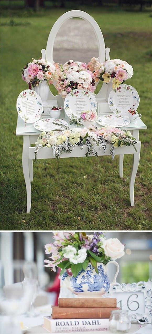 Decorar tu boda con teteras y flores mesa