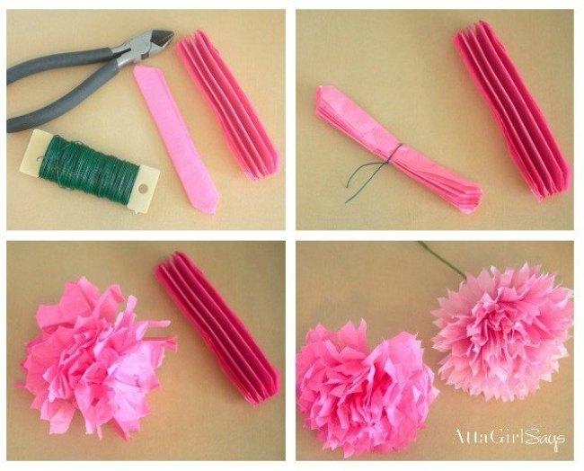 como hacer flores de seda peonias