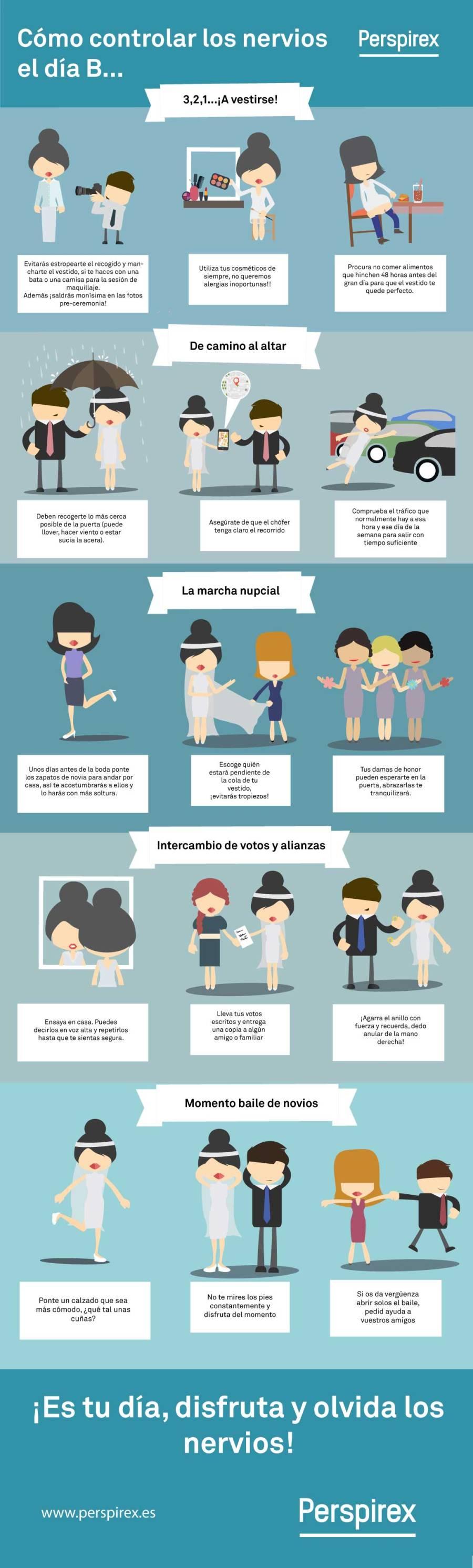 infografia para controlar los nervios antes de la boda