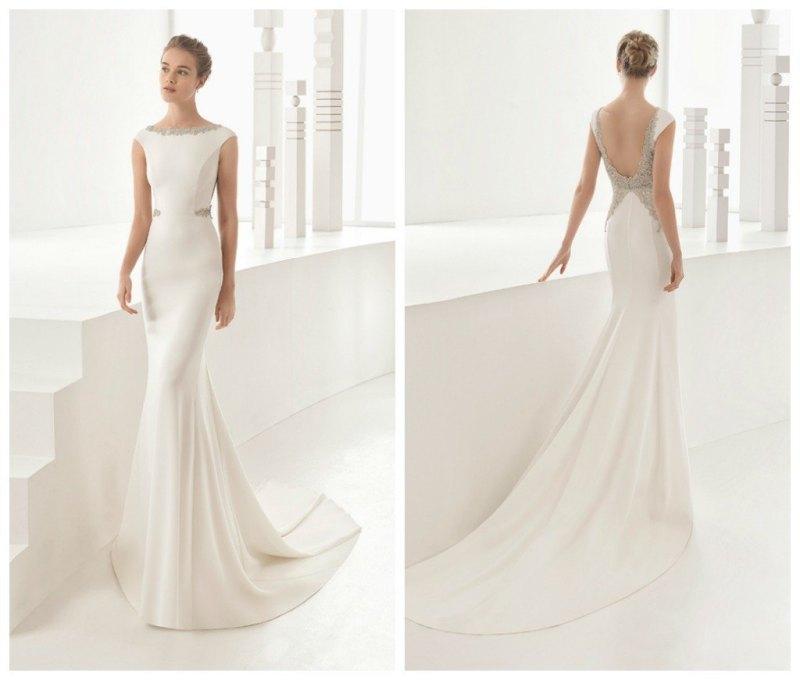 vestido de novia sencillo y elegante rosa clara