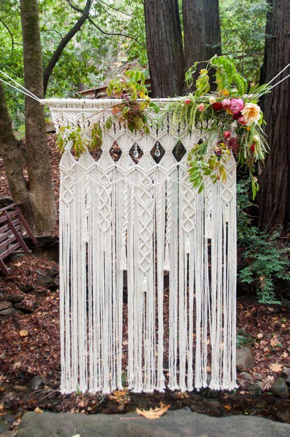 arco con macrame bodas - Inspiración con Macramé para Bodas Bohemias