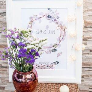 arbol de huellas para bodas boho