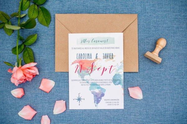 Invitación de boda viajera