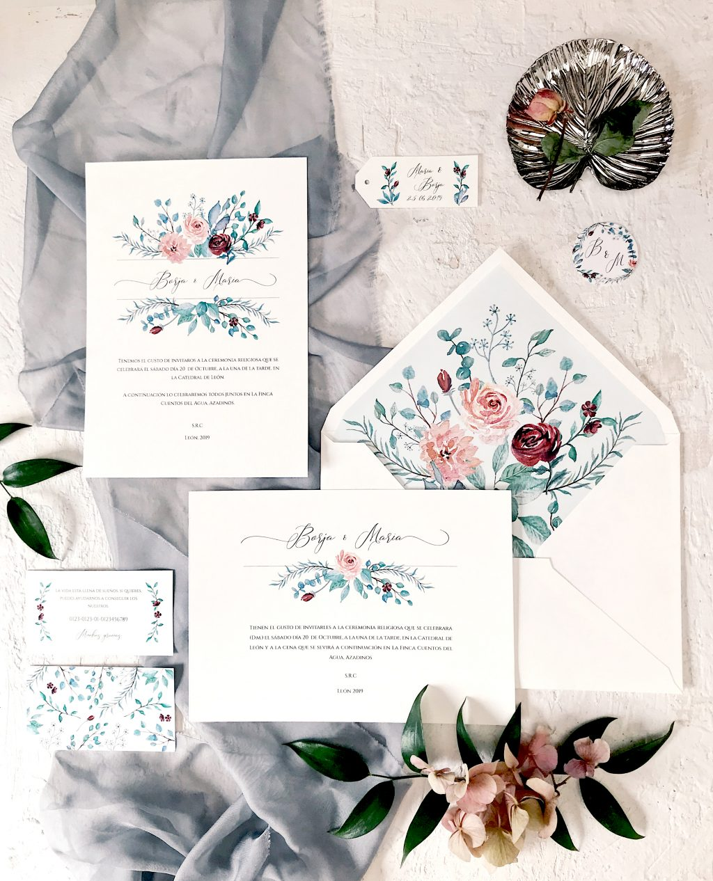 invitacion botanica eucalipto rosas marmarina - Marmarina, Creadores de Papelería de Alta Calidad