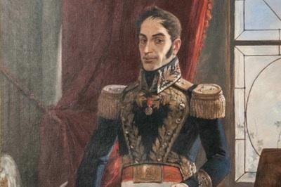 Detalhe do retrato de Símon Bolívar pintado por Arturo Michelena