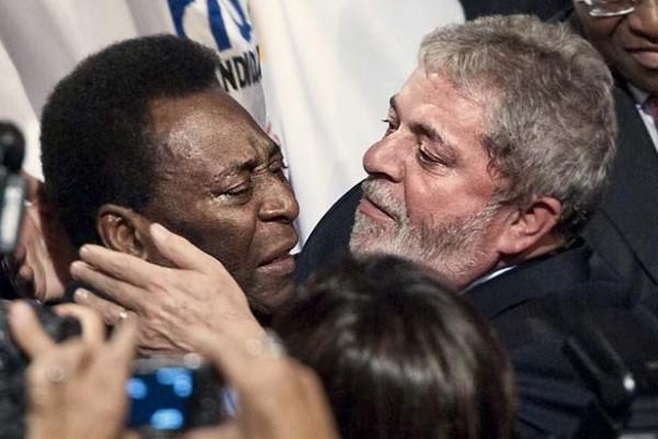 Lula e Pelé comemoram a vitória do Rio em Copenhague