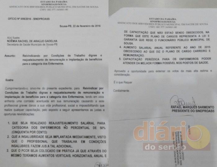 Oficio enviado à Prefeitura com reivindicações dos enfermeiros