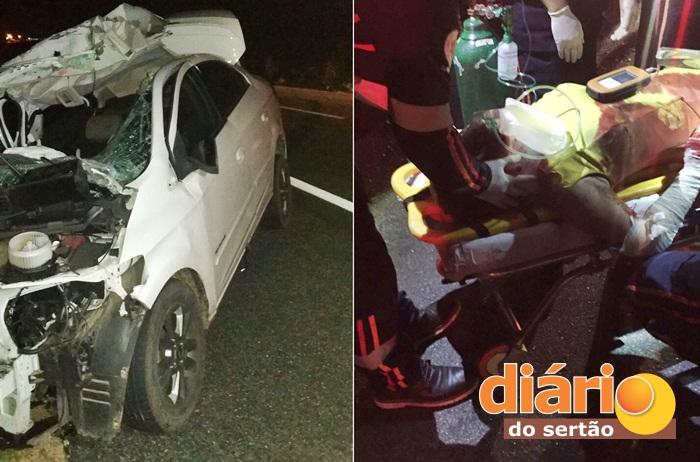 Fotos em acidente com Adalgisa na BR 230 em Santa Luzia (foto: WhatsApp)