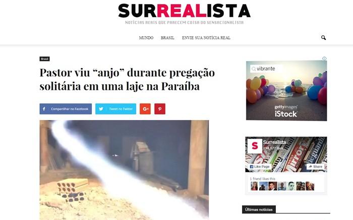 A matéria também foi postada no site Surrealista (foto: reprodução)