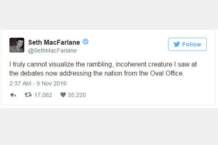 """O ator e produtor Seth McFarlane também se manifestou: """"Eu realmente não consigo visualizar esta criatura incoerente que vi nos debates agora comandar nossa Nação a partir da Sala Oval"""""""