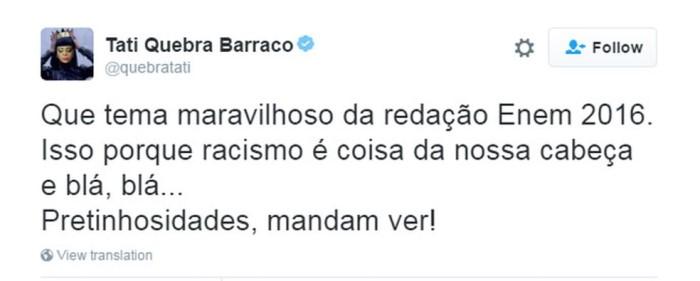 Tati Quebra Barraco elogia tema da redação (Foto: Reprodução/Twitter)