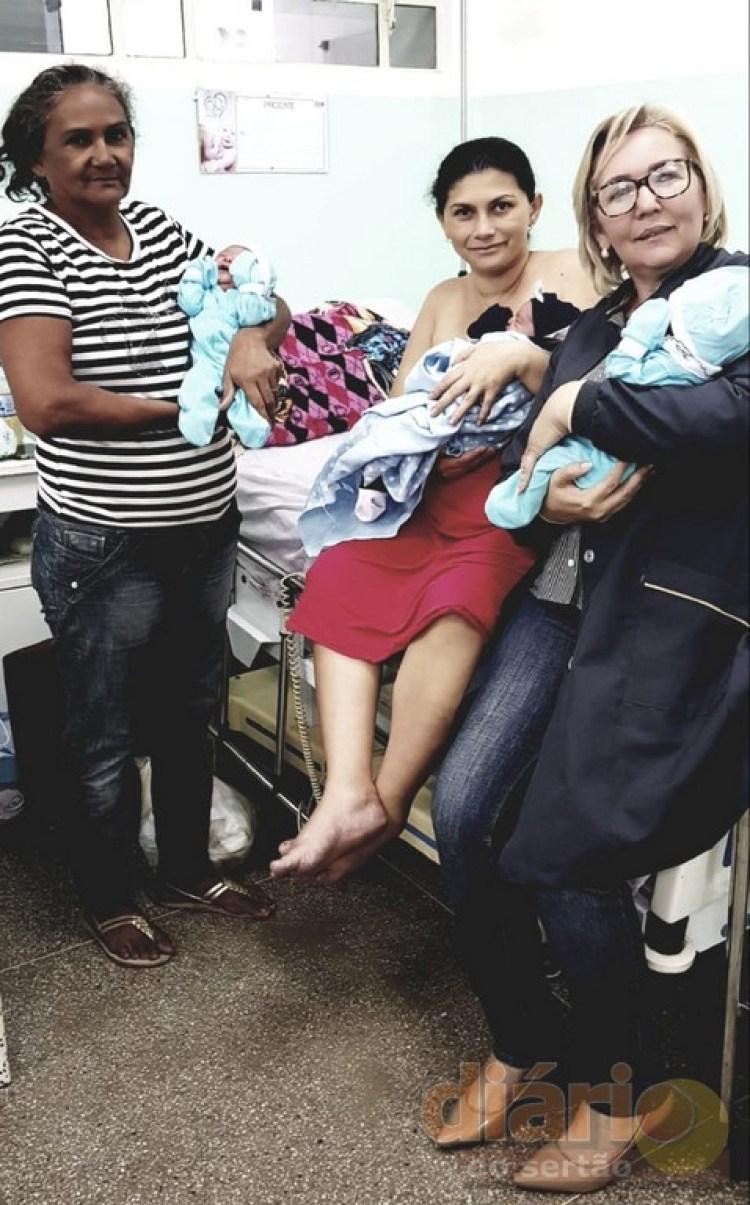 3trigemeos - Cajazeirense descobre pouco antes do parto que estava grávida de trigêmeos e escolhe nomes especiais