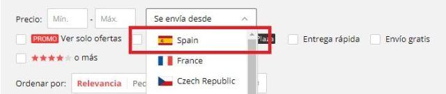 Envíos desde España de Aliexpress