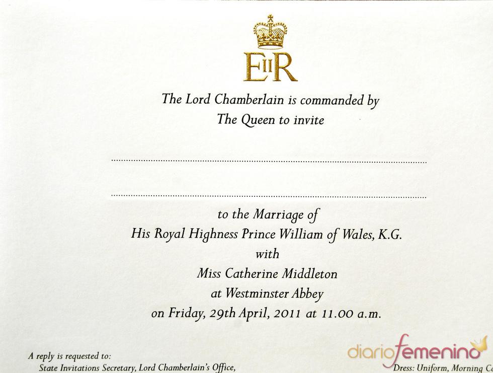 Invitación de la boda de Kate Middleton y Guillermo de Inglaterra