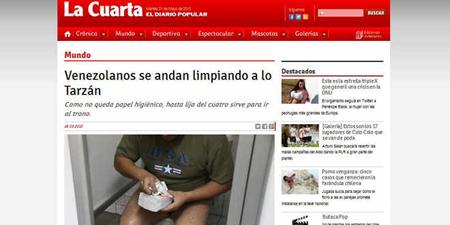 Venezolanos se andan limpiando a lo Tarzán, decía el titular del medio impreso chileno