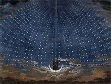 La llegada de la Reina de la Noche, antes de su primer aria. Puesta en escena por Karl Friedrich Schinkel (1781–1841) para una producción de 1815.