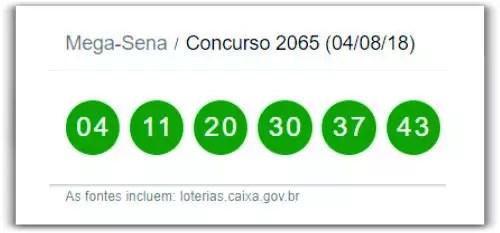 Confira o resultado da Mega-Sena Concurso 2065 deste sábado 04 de agosto de 2018