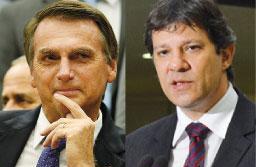 Bolsonaro tem 59% das intenções de votos válidos e Haddad, 41%