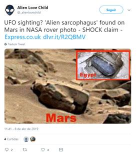 Ufólogo descobre 'sarcófago alienígena' em Marte