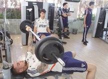Jogadores do São Paulo treinaram, ontem, na academia. Foto: Rubens Chiri/SPFC