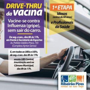 """Ribeirão Pires terá """"drive-thru"""" de vacinação da Influenza para idosos e profissionais da Saúde"""