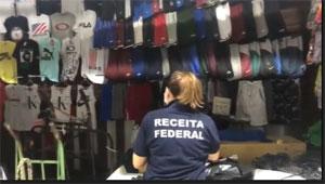 Ação se concentra em um shopping do Brás, onde se encontram lojas e depósitos de produtos importados falsificados. Foto: Divulgação/Receita