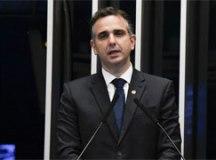 Em seu primeiro discurso como presidente, Pacheco defendeu a independência da Casa, o combate à corrupção, a geração de empregos. Foto: Jefferson Rudy/Agência Senado