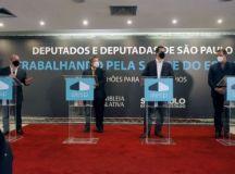 Jean Gorinchteyn, Carlão Pignatari, Cauê Macris e Luiz Fernando, durante anúncio de liberação das emendas. Divulgação/Alesp