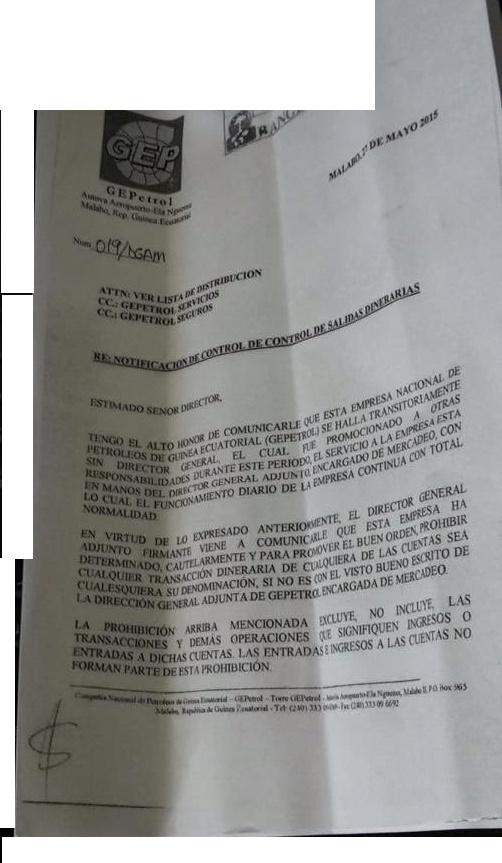 """Antonio Engonga Oburu estrena su cargo con una carta """"amenazante"""" dirigida a BANGE"""