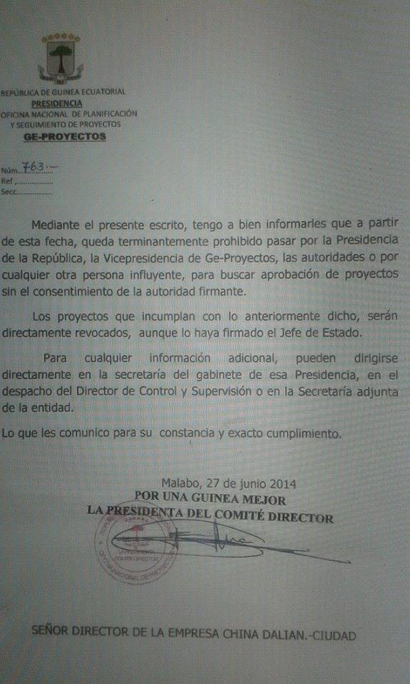 """Francisca Obiang Jimenez """"dichos proyectos serán directamente revocados aunque los haya firmado el mismo Jefe de Estado""""."""