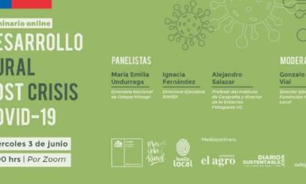 """Seminario online """"Desarrollo Rural post crisis COVID-19"""" organizado por Fundación Huella Local y Odepa"""