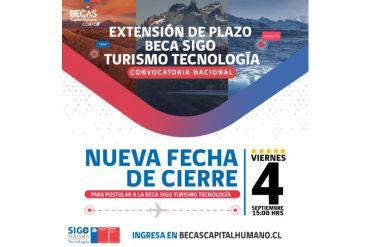 Amplían plazo para postular a becas del Programa SIGO Turismo Tecnología hasta el 4 de septiembre