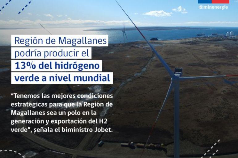 Región de Magallanes podría llegar a producir el 13% hidrógeno verde del mundo con energía eólica según estudio del Ministerio de Energía