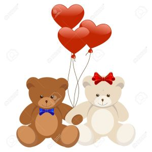 Cartoon illustration of sweet teddy bears in love. Vector illustration.