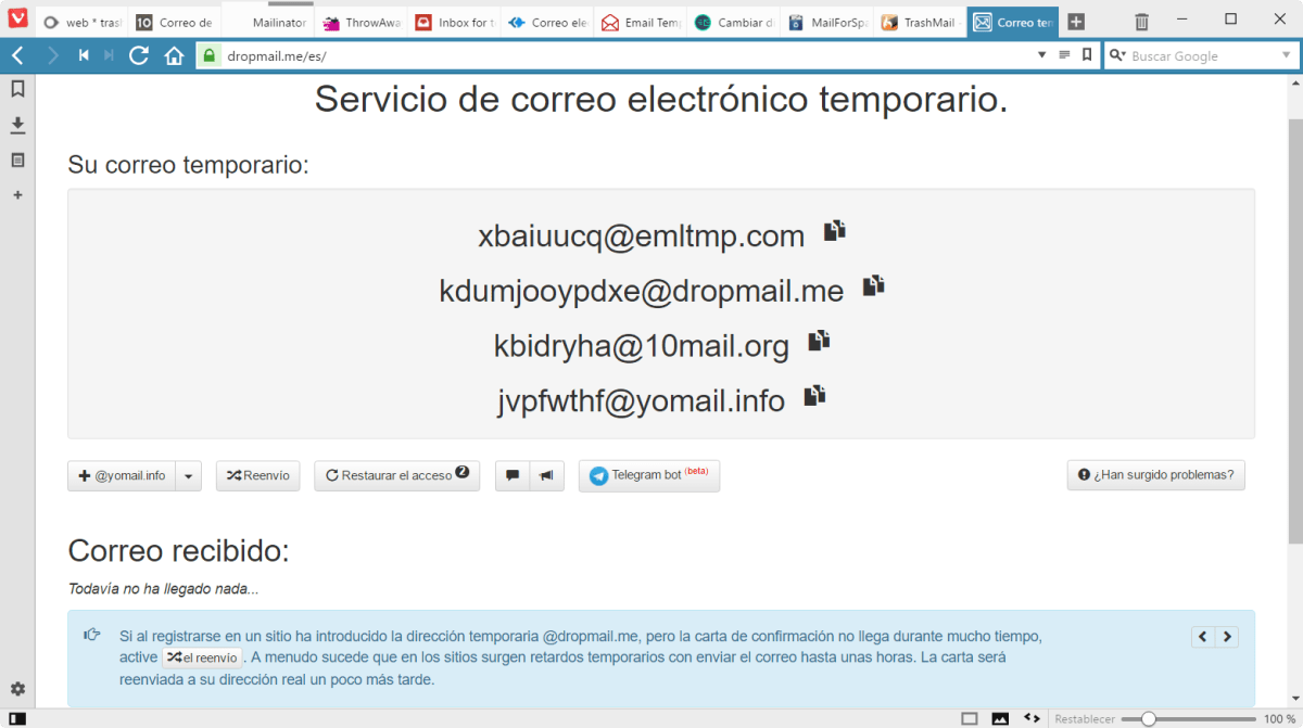 DropMail correo temporal