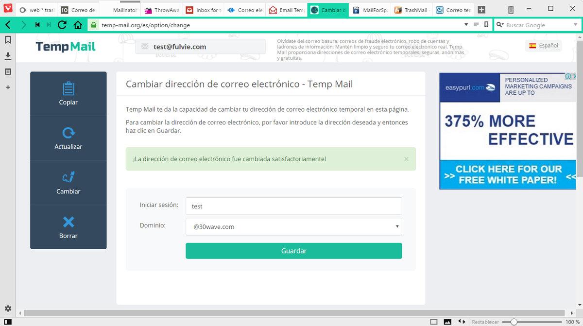 email temporal de usar y tirar