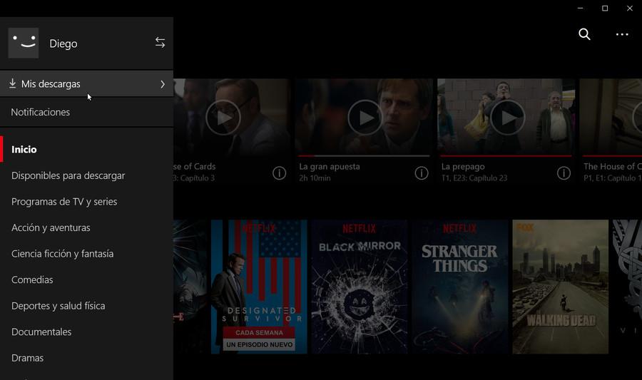 Películas o series descargadas en Netflix