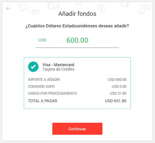Añadir fondos a Xapo