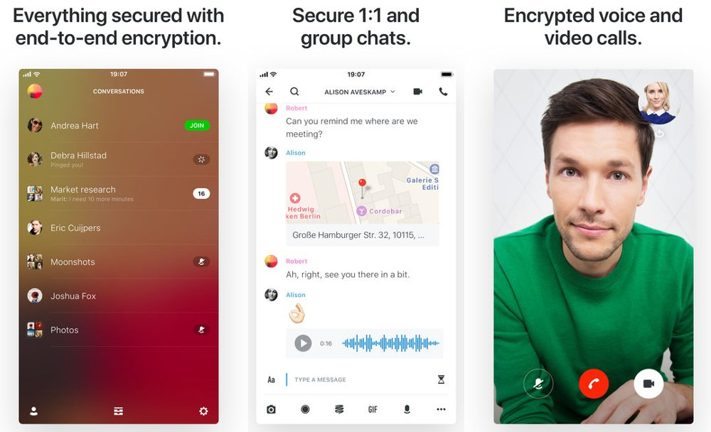 Wire app mensajería