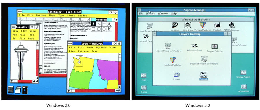 Diferencias Windows 2.0 y Windows 3.0