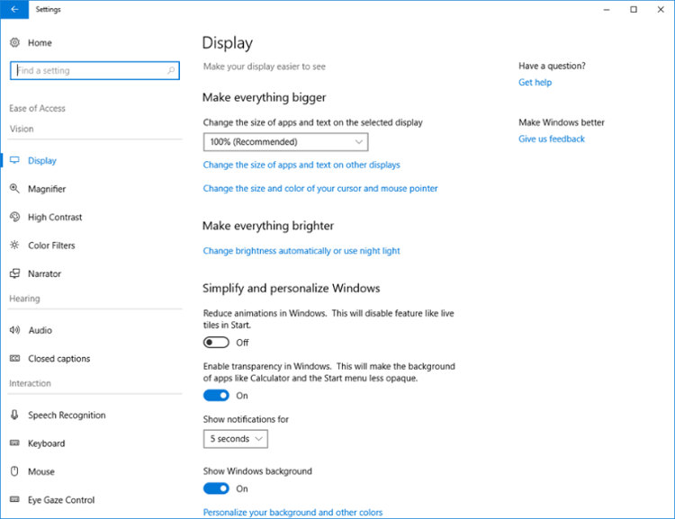 Accesibilidad Windows 10