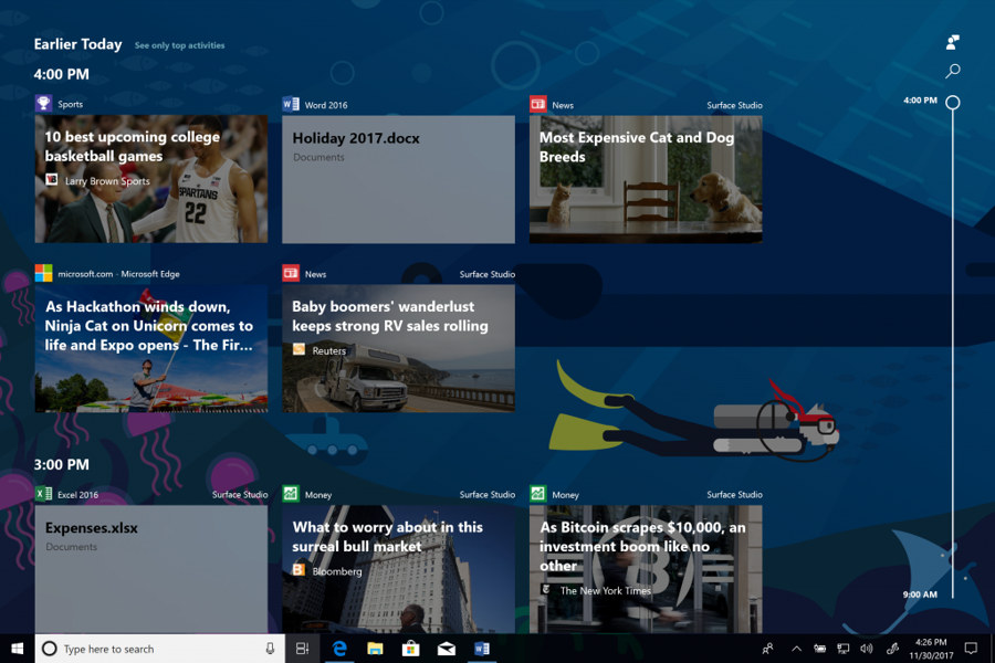 Timeline Windows 10 April 2018 Update