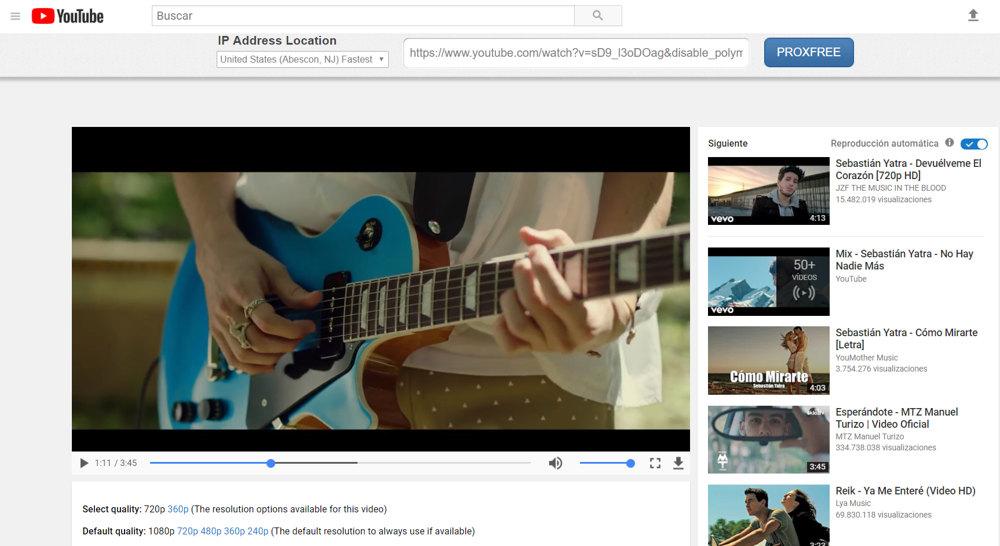 ProxFree desbloquear youtube