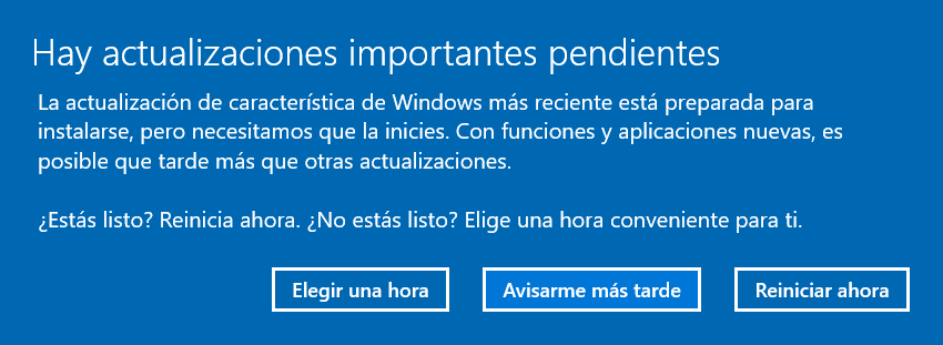 Reinicio Actualización de Windows 10