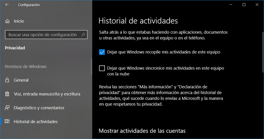 Historial de actividades de Windows 10